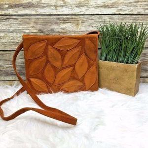 Vintage Tan Brown Orange Suede Leather Crossbody